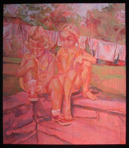 Colorful Painting of Kids Sucking On Lollipops By Kathy Borg