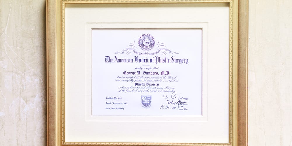 Certification from American Board of Plastic Surgery
