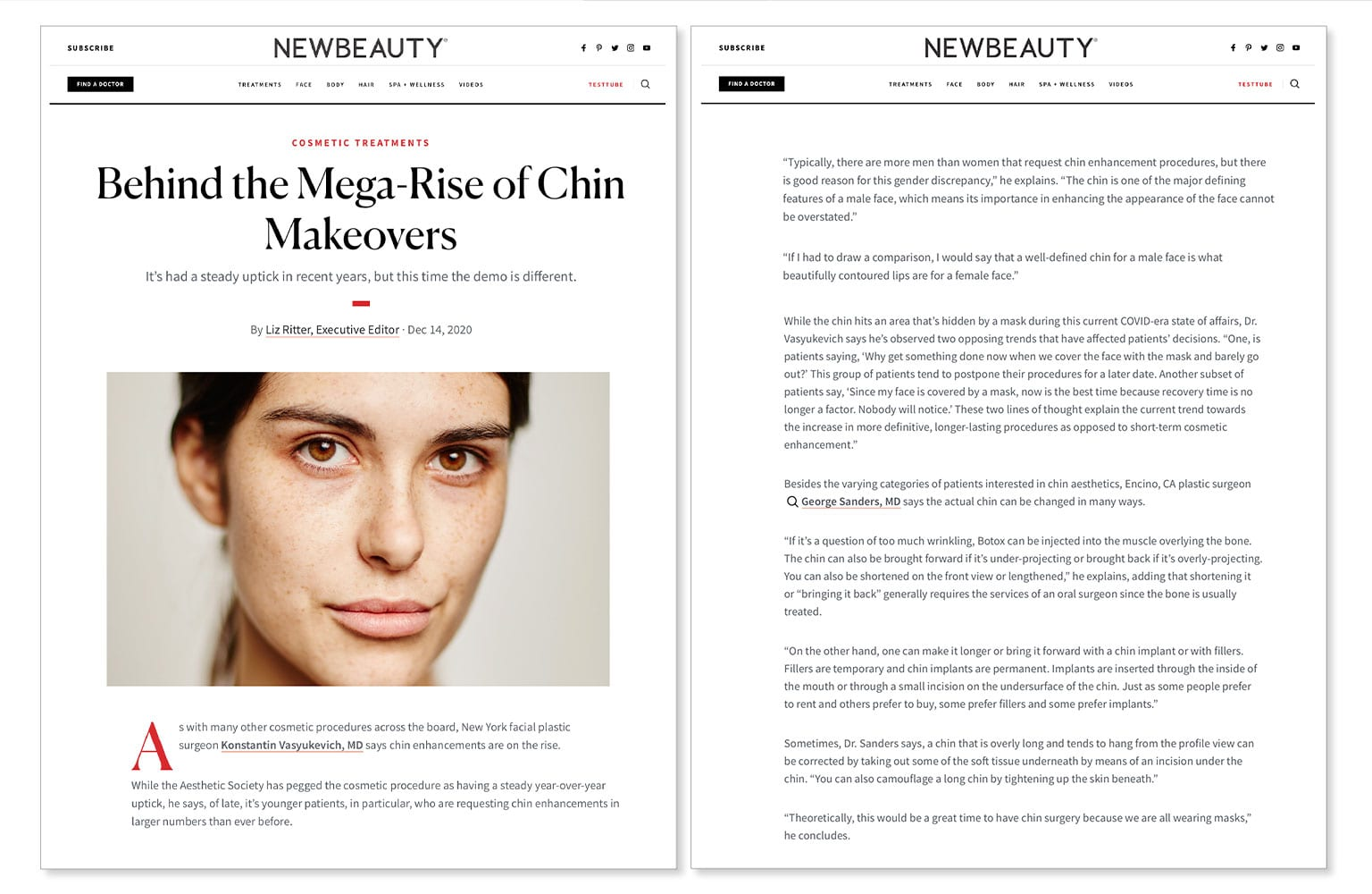 """Dr. Sanders """"Behind the Mega-Rise of Chin Makeovers"""" New Beauty Article"""