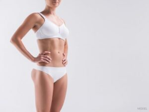 Woman's Fit Body in White Undergarments