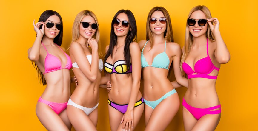 Group Photo of Five Young Women in Sungless and bikinis
