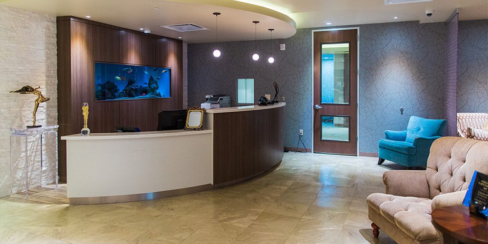 Office Front Desk and waiting Room Couches
