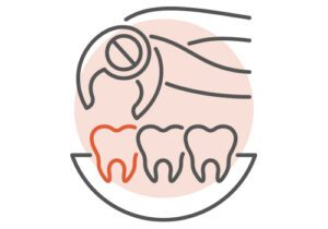 Icon Depicting a Damaged Tooth Being Extracted