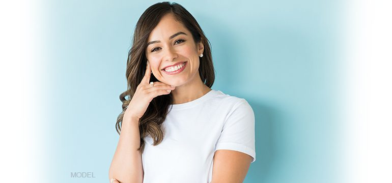 Model Showing Beautiful White Teeth While Smiling