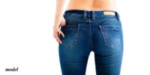 Female Buttocks in Jeans Viewed From Behind