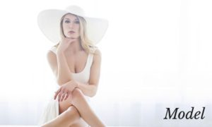 Model in Sitting with White Hat and Dress