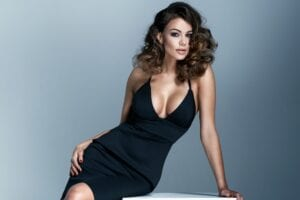 moderate breast implants creating cleavage