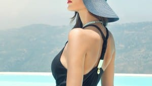 Back View of Model in Cross Back Tank and Sun Hat