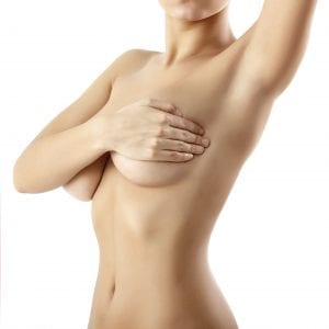Bare Female Upper Torso Covering Breasts with Hands