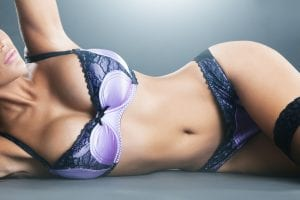 Sexy Torso of Model in Black and Purple Lingerie
