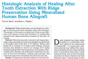 Histologic Analysis Article Written by Dr. Beck